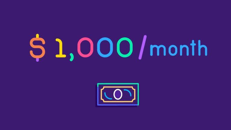 1000 dollars par mois